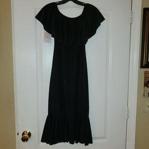 LuLaRoe M Sz Solid BLACK SLINKY  Cici Dress NWT